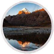 Sacred Mountain In Tibet - Mount Kailash Round Beach Towel