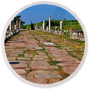 Sacred Road To Asclepion In Pergamum-turkey  Round Beach Towel