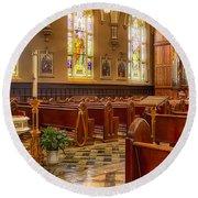 Sacred Space - Our Lady Of Mt. Carmel Church Round Beach Towel