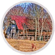 Sad Barn -  Featured In 'old Buildings And Ruins' Round Beach Towel