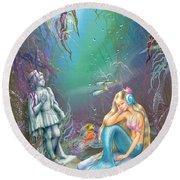 Sad Little Mermaid Round Beach Towel by Zorina Baldescu