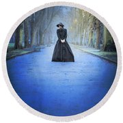 Sad Victorian Woman Alone In A Park At Dusk Round Beach Towel