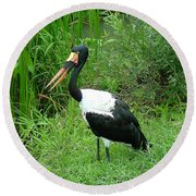Saddle Billed Stork-136 Round Beach Towel