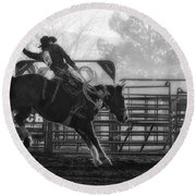 Saddle Bronc Riding Round Beach Towel