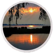 Sadness At Days End Round Beach Towel