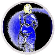 Safe Blue Woman Round Beach Towel