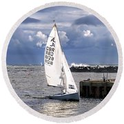 Safely Back To Harbour Round Beach Towel