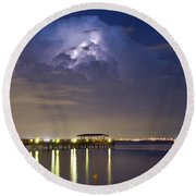 Safety Harbor Pier Round Beach Towel
