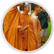Saffron-robed Monks At Buddhist University In Chiang Mai-thailand Round Beach Towel