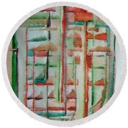 Sage Abstract Round Beach Towel