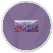 Sage Brush In Winter Light Round Beach Towel