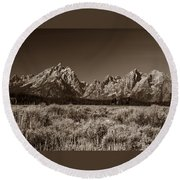 Sagebrush And Tetons Round Beach Towel