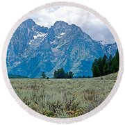 Sagebrush Flatland And Teton Peaks Near Jenny Lake In Grand Teton National Park-wyoming- Round Beach Towel