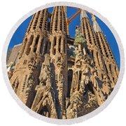 Sagrada Familia In Barcelona Round Beach Towel
