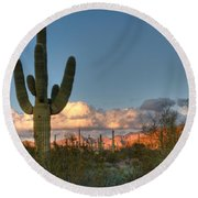 Saguaro At Sunset Round Beach Towel