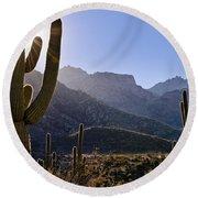 Saguaro Cacti And Catalina Mountains Round Beach Towel