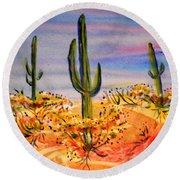 Saguaro Cactus Desert Landscape Round Beach Towel