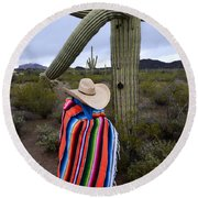 Saguaro Cactus The Visitor 1 Round Beach Towel
