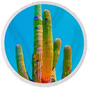 Saguaro Colors Round Beach Towel