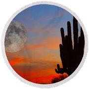 Saguaro Full Moon Sunset Round Beach Towel