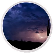 Saguaro Lightning  Round Beach Towel