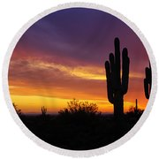 Saguaro Sunset II  Round Beach Towel