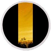 Saguaro Sunset Triptych Round Beach Towel
