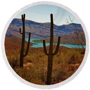 Saguaros In Arizona Round Beach Towel