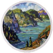 Saguenay Fjord By Prankearts Round Beach Towel