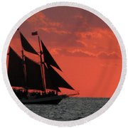 Key West Sunset Sail 5 Round Beach Towel