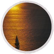 Sail Boat On Puget Sound Round Beach Towel