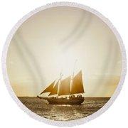 Sail Boat On The Horizon Round Beach Towel