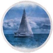 Sail Boat Photo Art 01 Round Beach Towel