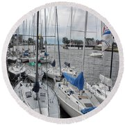 Sail Boats Docked For The Night Round Beach Towel