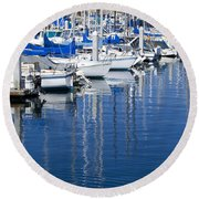 Sail Boats Docked In Marina Round Beach Towel