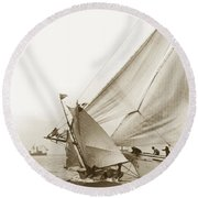 Sail Boats Little Anne And Virginia Collision On San Francisco Bay Circa 1886 Round Beach Towel