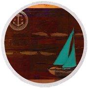 Sail Sail Sail Away - J173131140v3c4b Round Beach Towel