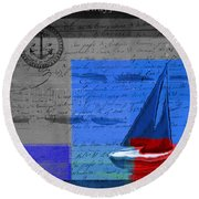 Sail Sail Sail Away - J179176137-01 Round Beach Towel by Variance Collections