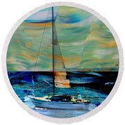 Sailboat And Abstract Round Beach Towel