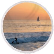 Sailboats And Surfers Round Beach Towel