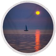 Sailboat At Sunrise Round Beach Towel