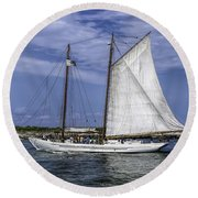 Sailboat In Cape May Channel Round Beach Towel
