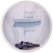 Sailboat In Fog Round Beach Towel