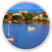 Sailboat In Holly Hill Round Beach Towel