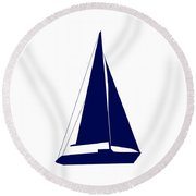 Sailboat In Navy And White Round Beach Towel