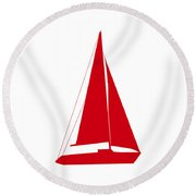 Sailboat In Red And White Round Beach Towel