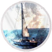 Sailboat Light W Metal Round Beach Towel