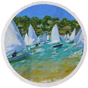 Sailboat Race Round Beach Towel by Andrew Macara