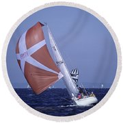 Sailboat Race On Puget Sound Round Beach Towel