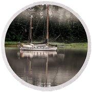 Sailboat Reflection Round Beach Towel